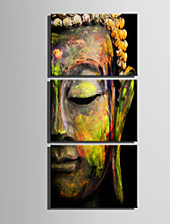 cheap -E-HOME Stretched Canvas Art  Half Face Bronze Statue Of Buddha Decoration Painting Set Of 3