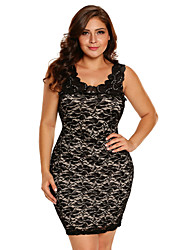 Women's Party Club Sexy Lace Dress,Solid Embroidered Round Neck Above Knee Sleeveless Polyester Spandex Summer High Rise Stretchy Medium