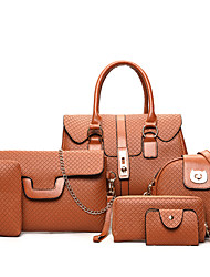 cheap -Women Bags PU Bag Set Zipper for Casual Office & Career All Seasons Gold Black Gray Brown