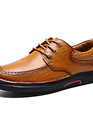 Men's Shoes Cowhide Spring Fall Comfort Oxfords Lace-up For Casual Office & Career Dark Brown Light Brown