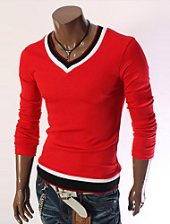 cheap -Men's Daily Sports Regular Pullover,Solid Color Block Round Neck Long Sleeves Wool Polyester Winter Fall Medium Micro-elastic
