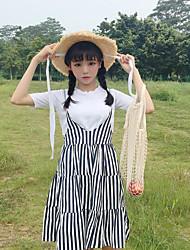 abordables -Mujer Simple Noche Verano T-Shirt Falda Trajes,Escote Redondo A Rayas Manga Corta