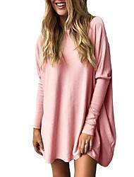 Для женщин На каждый день Рубашка Круглый вырез Однотонный Длинный рукав,Полиэстер