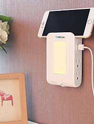 BRELONG 2USB 4US Charger Plug Receptor Induction Nightlight Charger 2.1A (Dc5v) 110-140V Warm White US