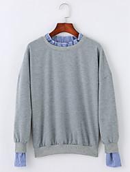 cheap -Women's Long Sleeves Cotton Sweatshirt - Solid Shirt Collar
