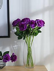 baratos -2 Ramo Poliéster Rosas Flor de Mesa Flores artificiais