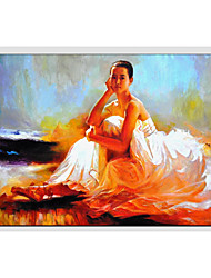 cheap -Hand-Painted People Horizontal Panoramic, Other Canvas Oil Painting Home Decoration One Panel