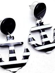 preiswerte -Damen Anker Ohrstecker Tropfen-Ohrringe - Personalisiert Modisch Schwarz Rot Anker Ohrringe Für Normal Festtage