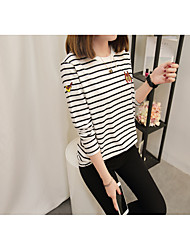 cheap -Women's Daily Work Cute Casual Sophisticated Winter Fall T-shirt,Striped Embroidery Round Neck Long Sleeves Cotton Rayon Polyester Medium