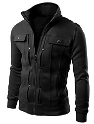 Men's Going out Hoodie Jacket Solid Stand Micro-elastic Others Long Sleeve Spring Fall