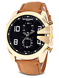 Men's Dress Watch Fashion Watch Casual Watch Chinese Quartz Calendar Chronograph Water Resistant / Water Proof Large Dial Genuine Leather