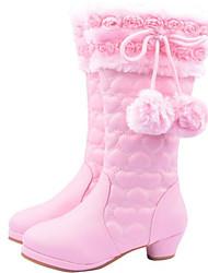billige -Pige Sko PU Vinter Komfort / Snestøvler Støvler for Rød / Lys pink