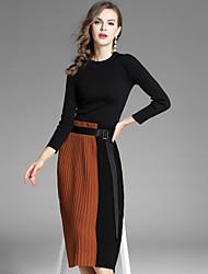 Feminino Suéter Saia Conjuntos Para Noite Casual Moda de Rua Outono,Sólido Estampa Colorida Decote Redondo Manga Longa Micro-Elástica