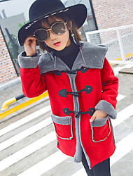cheap -Girls' Solid Jacket & Coat,Wool Cotton Winter Fall Vintage Cute Casual Red Purple Army Green