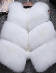 Women's Daily Simple Casual Winter Fall Vest,Solid V Neck Short Fox Fur