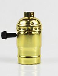 cheap -E26 Golden Aluminum Shell Antique Screw Edison Pendant Lamp Zipper Switch Lamp Holder