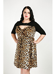 cheap -Women's Plus Size A Line Dress - Leopard, Cut Out V Neck