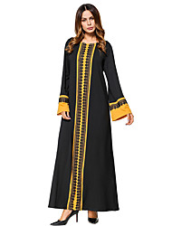 cheap -Women's Daily Abaya Dress,Color Block Round Neck Maxi Knee-length Long Sleeves Polyester Summer Mid Rise Micro-elastic Medium