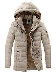 Недорогие -Пальто Простой Обычная На подкладке Для мужчин,Однотонный Спорт Большие размеры Хлопок Искусственный шёлк Длинный рукав