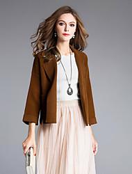 preiswerte -Damen Solide Alltag Ausgehen Street Schick Anspruchsvoll Strickjacke 3/4 Ärmel Bateau Winter Wolle
