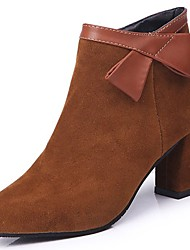 cheap -Women's Shoes Suede Winter Comfort Fashion Boots Boots Chunky Heel Pointed Toe Bowknot For Casual Brown Black