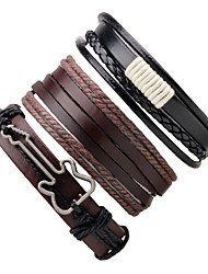 cheap -Men's Women's Leather Guitar Leather Bracelet Wrap Bracelet - Handmade Adjustable Round Coffee Bracelet For Gift Going out