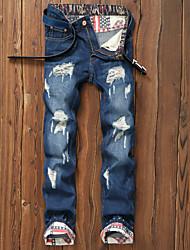 economico -Da uomo A vita medio-alta Casual Media elasticità Chino Jeans Pantaloni,Tinta unita Lino Primavera Estate Autunno