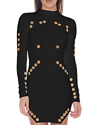 cheap -Women's Going out Club Casual Sexy Bodycon Dress,Patchwork Crew Neck Mini Long Sleeves Polyester Spring Fall Mid Rise Micro-elastic Medium
