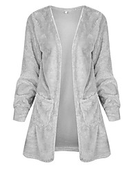 cheap -Women's Long Sleeves Long Cardigan - Solid V Neck