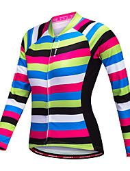 economico -WOSAWE Per donna Manica lunga Maglia da ciclismo - Nero / verde Bicicletta Maglietta/Maglia, Asciugatura rapida