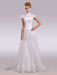 A-Line High Neck Court Train Lace Satin Tulle Wedding Dress with Beading Appliques Buttons Lace Sashes/ Ribbons by LAN TING BRIDE®