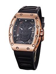 abordables -Hombre Mujer Reloj Militar Reloj Esqueleto Reloj de Pulsera Chino Cuarzo Caucho Banda Negro