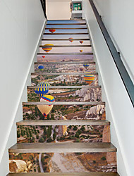 1Set/13Pcs Hot-air Balloon Stairs Stickers Mural Removable Decal Natural Landscape Creative Corridor Floor Sticker 3D Stairway Decals 18*100*13cm