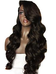 Недорогие -жен. Бразильские волосы Натуральные волосы Бесклеевая кружевная лента 150% плотность С пушком Естественные кудри Парик Черный Длиный