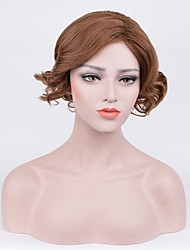 cheap -Synthetic Wig Curly Bob Haircut Middle Part Brown Women's Capless Halloween Wig Celebrity Wig Party Wig Natural Wigs Short Synthetic Hair