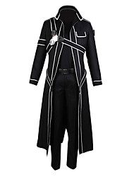 cheap -Inspired by Sword Art Online Kirito/Kazuto Kirigaya Anime Cosplay Costume Black Solid/Patchwork Cloak/Pants/Shoulder Armor/Gloves Male/Female