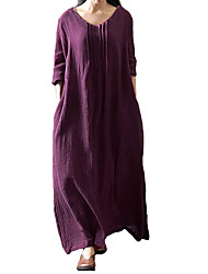 Women's Plus Size Casual/Daily Simple Loose Dress,Solid U Neck Maxi Long Sleeves Polyester All Seasons Low Rise Micro-elastic Medium