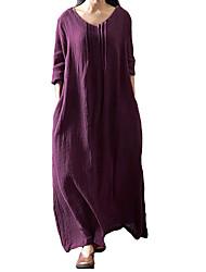 abordables -Femme Grandes Tailles Ample Robe Couleur Pleine Taille Basse Col en U Maxi