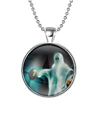 Women's Pendant Necklaces Chain Necklaces Round Alloy Hip-Hop Illuminated Jewelry For Halloween Christmas
