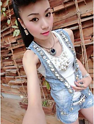 Women's Going out Street chic Summer Tank Top Pant Suits,Jeans Strapless Sleeveless Denim Polyester Inelastic