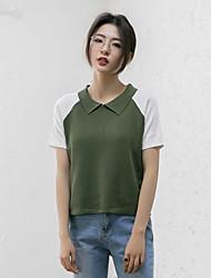 preiswerte -Damen Kunst-Pelz Kurzarm Pullover-Einfarbig Hemdkragen