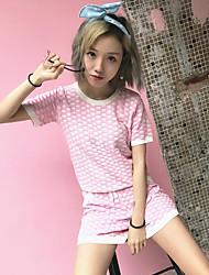 abordables -Mujer Simple Festivos Primavera Verano T-Shirt Pantalón Trajes,Escote Redondo Estampado Manga Corta Eslático