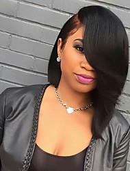 Недорогие -жен. Бразильские волосы Натуральные волосы U-образный 130% плотность Стрижка каскад С пушком Естественные прямые Парик Черный как смоль