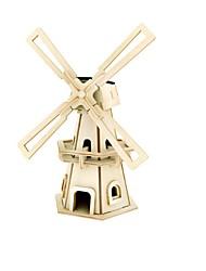 baratos -RUOTAI Quebra-Cabeças 3D Modelos de madeira Moinho de Vento Alimentado a Energia Solar Madeira 1pcs Crianças Dom