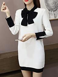 preiswerte -Damen Lose Kleid-Ausgehen Solide Asymmetrisch Mini Langarm Polyester Sommer Herbst Mittlere Hüfthöhe Mikro-elastisch Mittel