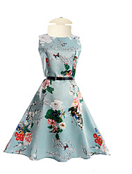 cheap -Girl's Daily Going out Holiday Solid Floral Dress,Polyester Summer Half Sleeves Floral Blue