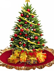 cheap -1Pcs Red Christmas Tree Skirt Golden Edge   Base Decoration Xmas Tree Cover Decor