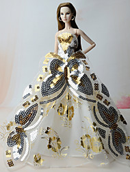cheap -Dresses Dresses For Barbie Doll Golden Dresses For Girl's Doll Toy