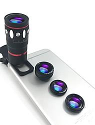 kits de lente de câmera de telefone lingwei 4 em 1 óptico universal clip-on telescópio 10x telefoto lente fisheye grande angular macro