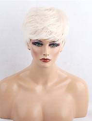 Недорогие -Прямой силуэт Машинное плетение Натуральные волосы парики Боковая часть Короткие Черный Medium Auburn Белый Бежевый Blonde // Bleach